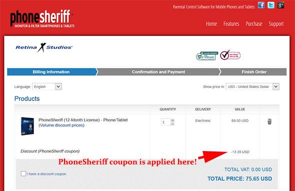PhoneSheriff Discount Code